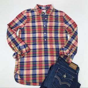 J. Crew boy fit plaid popover button-down shirt